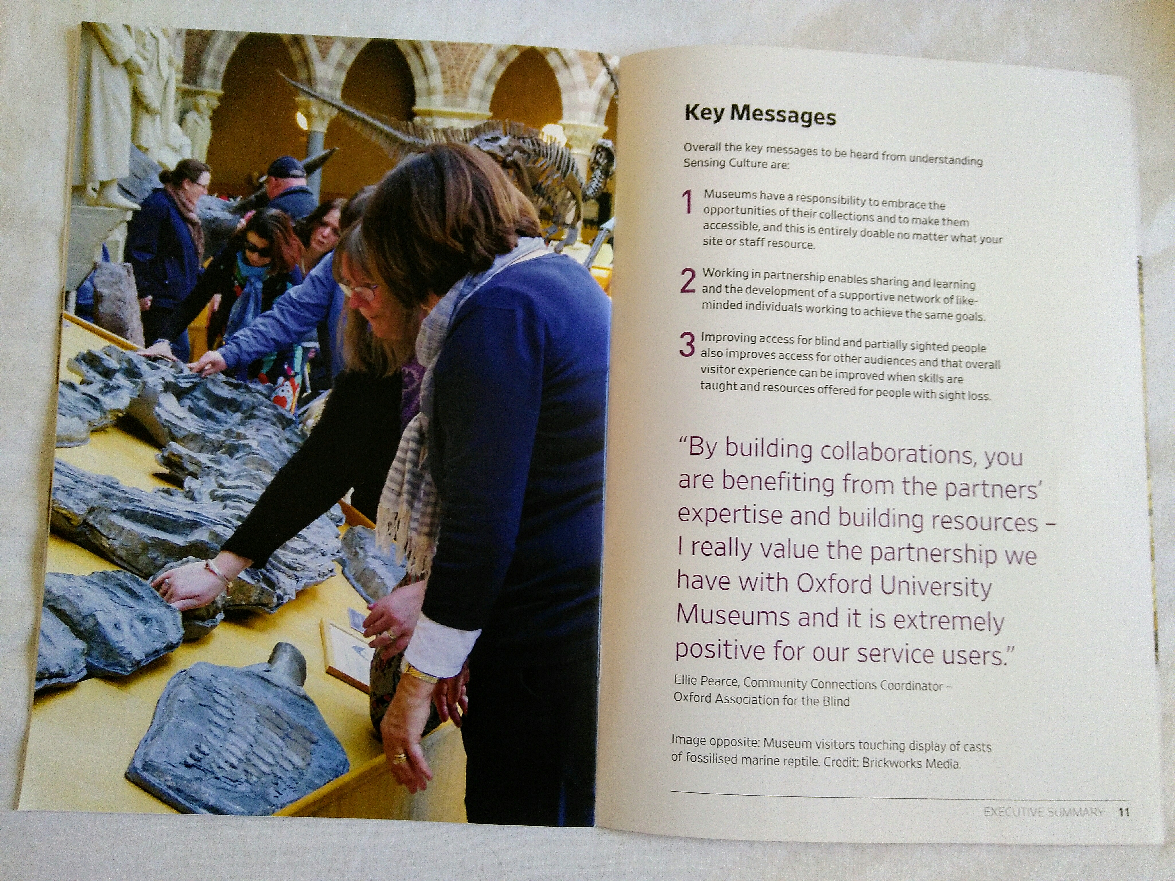 Example printed material project evaluation report key messages.