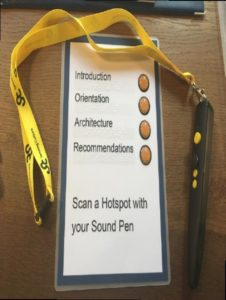 """OUMC Welcome Pack and penfriend. Image showing a sound pen on a lanyard alongside a laminated card which reads """"Scan a Hotspot with your Sound Pen"""". The following categories are also listed: Introduction, Orientation, Architecture, Recommendations.]"""