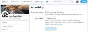 Twitter accessibility. Screenshot showing the Twitter Accessibility tab. The Image descriptions box is shown as ticked.]