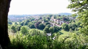 Lewes Castle view. Photograph showing the town of Lewes as viewed from high up in the Castle