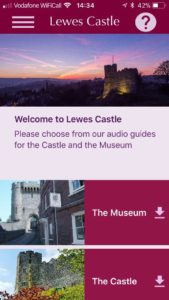 Lewes app face. The Lewes Castle app featuring audio guide downloads for the Castle and the Museum