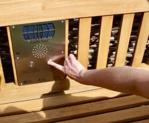 Lewes listening bench. Close-up of the listening bench, operated by buttons