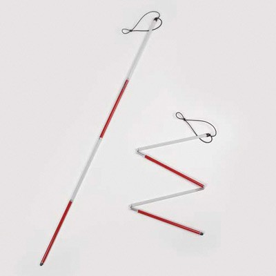 Photograph of Deafblind symbol red and white cane